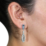 14K White Gold 6.00 cts Aquamarine and 0.85 cts of Diamond Earrings