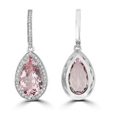 14K White gold Morganite 6.30cts and Diamond 0.60cts (SI1-VS, G-H) Dangling Earrings