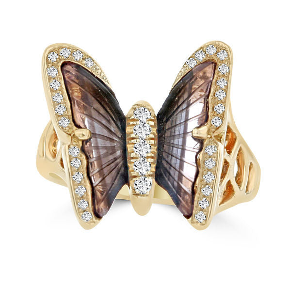 14K Rose Gold 1.90ct Tourmaline and 0.24ct TDW Diamond Butterfly Ring by La Vita Vital