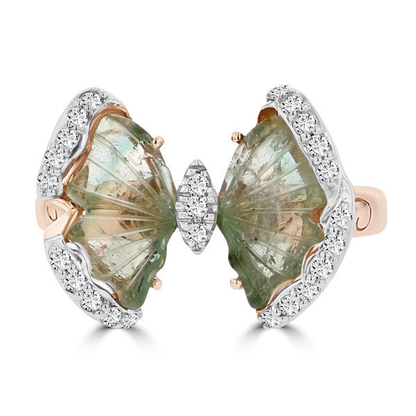 14k Rose Gold Natural Tourmaline 3.04cts and Diamond 0.22ct TDW Butterfly Ring by La Vita Vital