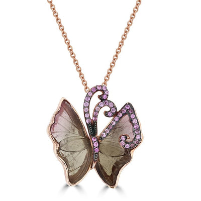 14K Rose Gold Natural Tourmaline 3.36cts and Pink Sapphire Butterfly Necklace by La Vita Vita