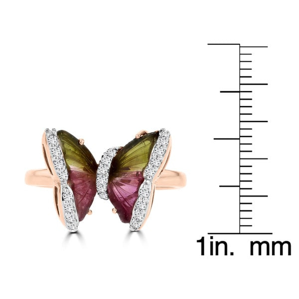 14k Rose Gold Natural Tourmaline 3.38cts and Diamond 0.22ct TDW Butterfly Ring by La Vita Vital