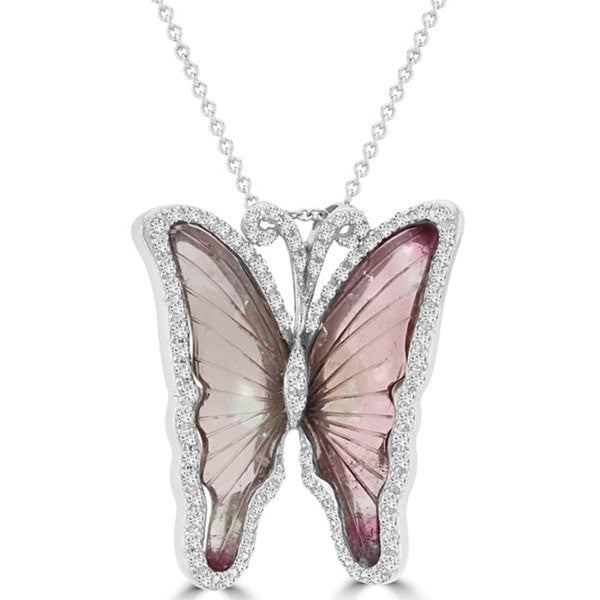 14K White Gold Tourmaline 10.35cts and Diamond 0.65ct TDW Butterfly Pendant Necklace