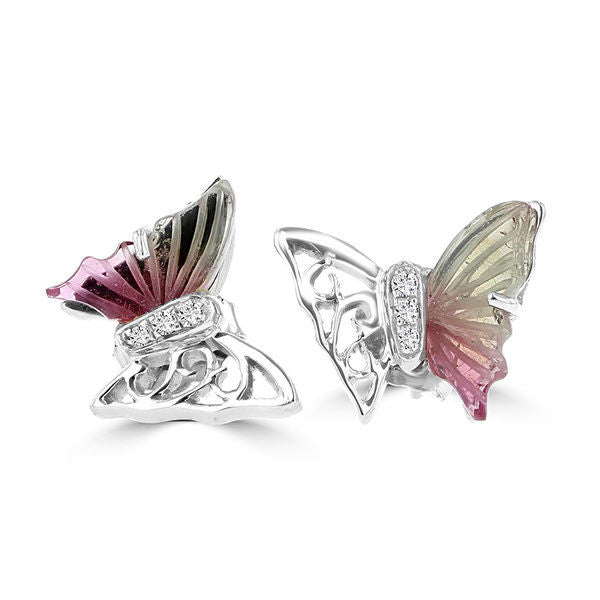 14k White Gold 2.00ct TGW Tourmaline and Diamond Butterfly Earrings