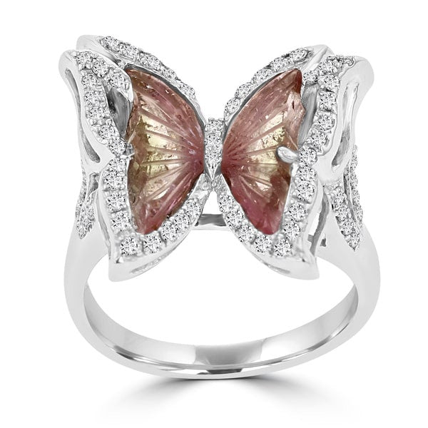 14k White Gold Natural Tourmaline 2 1/10ct and Diamond 0.39ct TDW Butterfly Ring