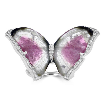 14k White Gold Natural Tourmaline 20.85cts and Diamond 0.37ct TDW Butterfly Ring by La Vita Vital