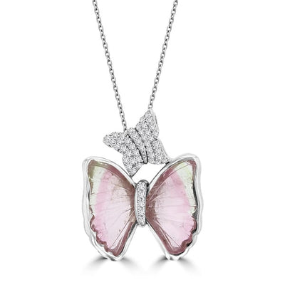 14k White Gold 4 7/8ct TGW Tourmaline and 1/5ct TDW Diamond Butterly Necklace