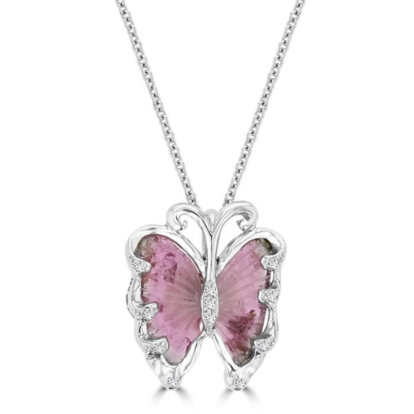 14K White Gold 4.90ct Tourmaline and 0.09ct TDW Diamond Butterfly Pendant Necklace by La Vita Vital (VS-SI1, G-H)
