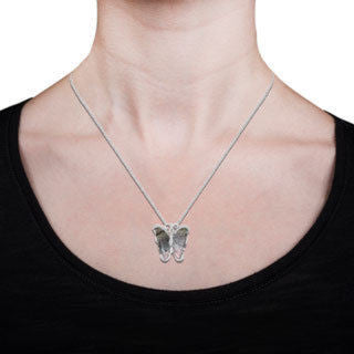 14K White Gold 6.50ct Tourmaline and 0.14ct TDW Diamond Butterfly Pendant Necklace by La Vita Vital (VS-SI1, G-H)