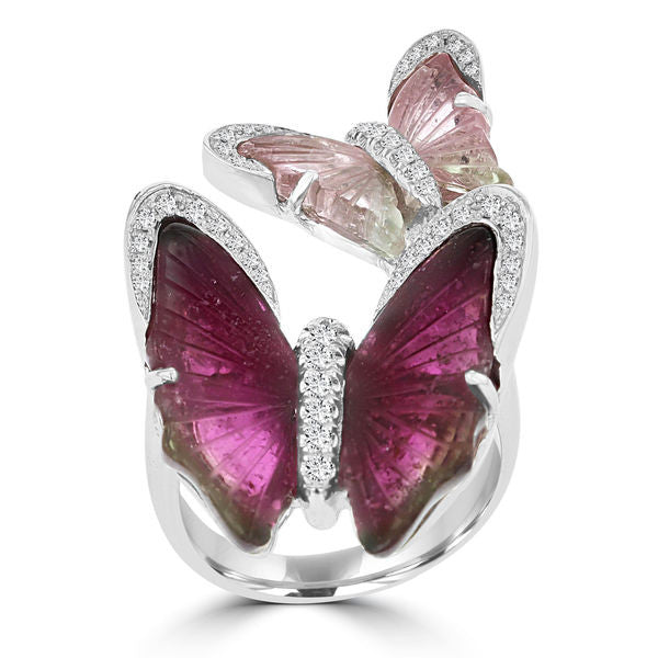 14k White Gold Natural Tourmaline and 1/3ct TDW Diamond Butterfly Ring