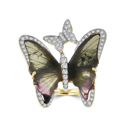14k Yellow Gold 12 5/8ct TGW Tourmaline and 1/2ct TDW Diamond Butterfly Ring