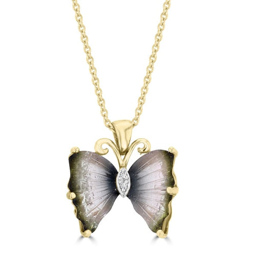 14k Yellow Gold Natural Tourmaline and White Diamond Accent Butterfly Necklace