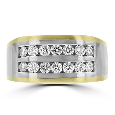 14k White & Yellow Gold Men's 1.00ct TDW Diamond Ring
