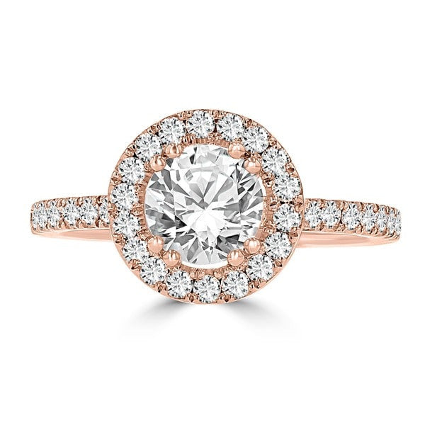 14k Rose Gold Diamond 1.65ct TDW Halo Engagement Ring