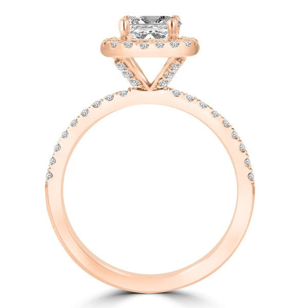 14k Rose Gold Diamond 1.60cts TDW Halo Engagement Ring