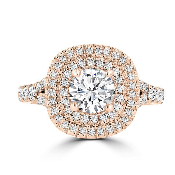 14k Rose Gold 1 4/5ct TDW Double Halo Diamond Engagement Ring