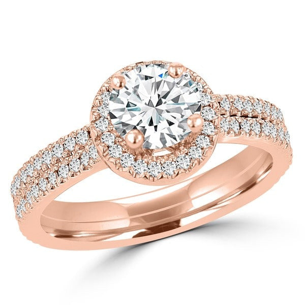 14k Rose Gold Diamond 0.95ct TDW Bridal Set