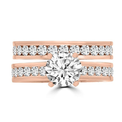 14k Rose Gold Diamond 2 1/4ct. TDW Bridal Set