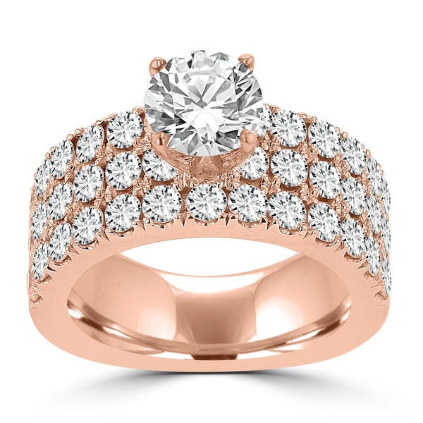 14k Rose Gold Diamond 3 1/5ct TDW Engagement Ring