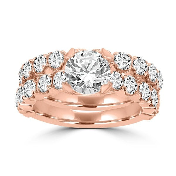 14k Rose Gold Diamond 3 2/5ct TDW Bridal Set