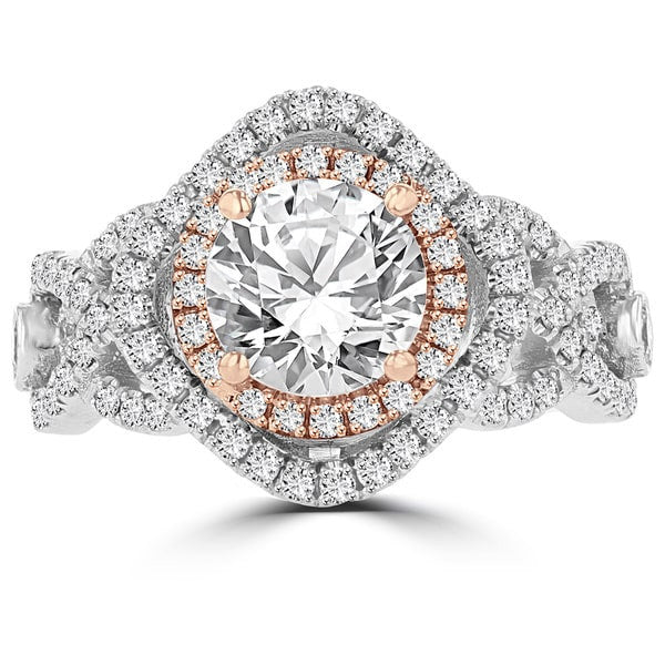 14k Two-tone White/Rose Gold 1.75cts TDW Diamond Engagement Ring
