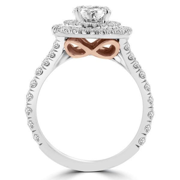 14k White/ Rose Gold 1 4/5ct TDW Double Halo Diamond Engagement Ring
