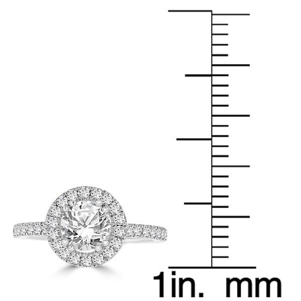 14k White Gold 1.65ct TDW Diamond Halo Engagement Ring