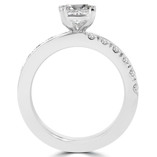 14k White Gold 1.55ct. TDW Princess-cut Diamond Engagement Ring