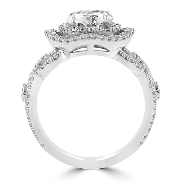 14K White Gold Double Halo 1.75cts TDW Diamond Engagement Ring