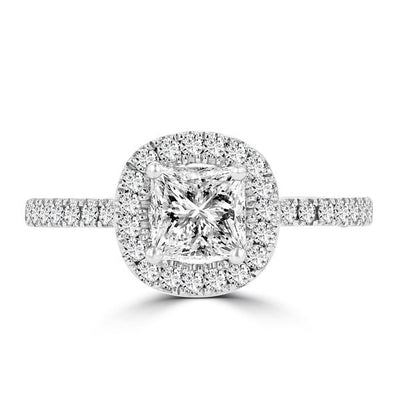 14k White Gold Diamond 1.60cts TDW Halo Engagement Ring