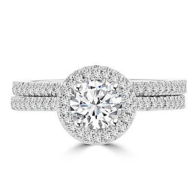 14k White Gold 0.95ct. TDW Diamond Bridal Set