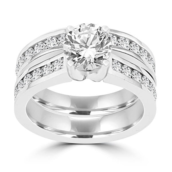14K White Gold Diamond 2.25cts TDW Bridal Set