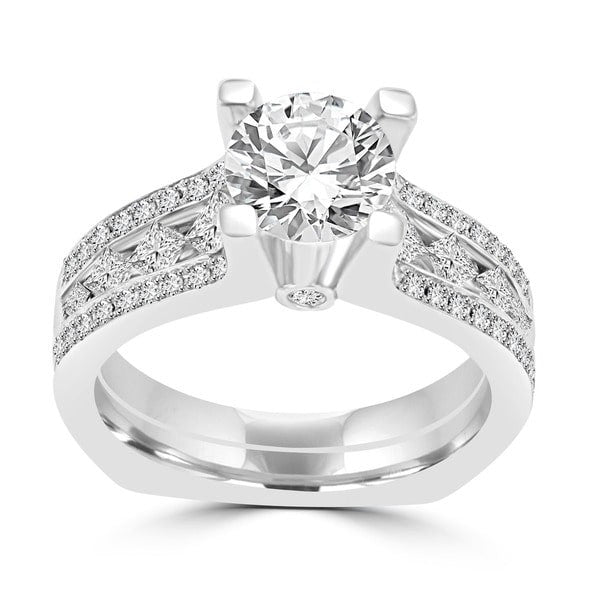 14K White Gold Diamond 2.00cts TDW Engagement Ring