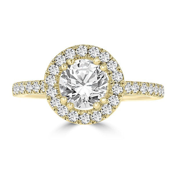 14k Yellow Gold 1.65ct TDW Diamond Halo Engagement Ring