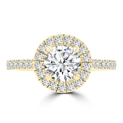 14K Yellow Gold Diamond 1.55ct TDW Halo Engagement Ring