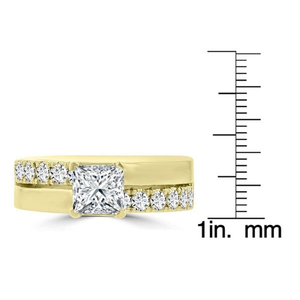 14k Yellow Gold 1.55ct. TDW Princess-cut Diamond Engagement Ring