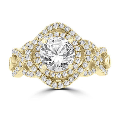 14k Yellow Gold Double Halo 1.75cts TDW Diamond Engagement Ring