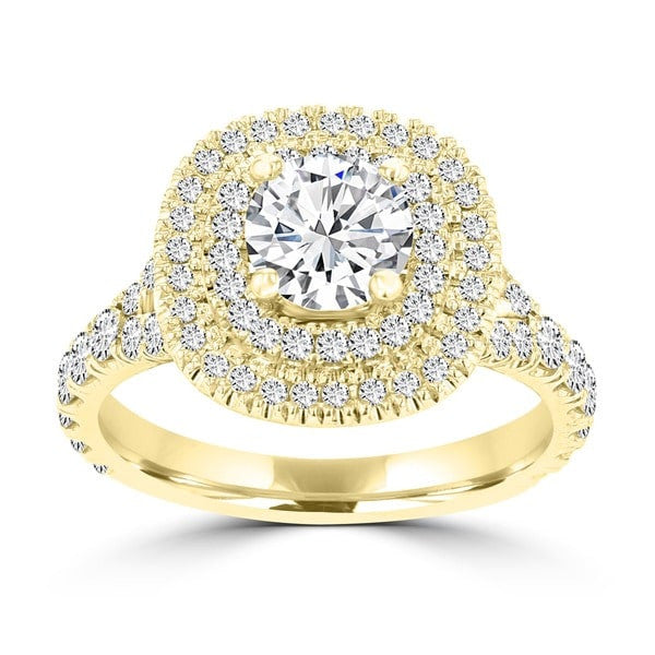 14K Yellow Gold 1.80cts TDW Double Halo Diamond Engagement Ring