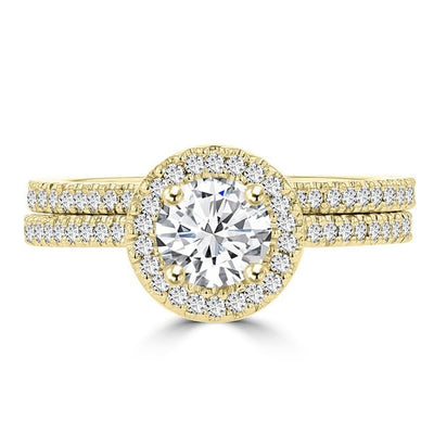 14k Yellow Gold 0.95cts TDW Diamond Bridal Set