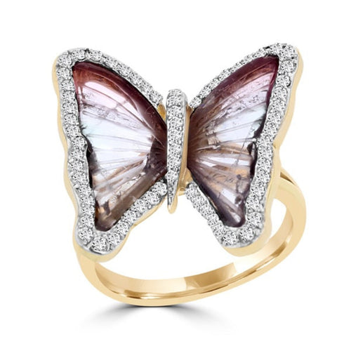18k Rose Gold Natural Tourmaline and 2/5ct TDW Diamond Butterfly Ring