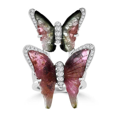 18K White Gold 14.67ct TGW Tourmaline and 0.68ct TDW Diamond Butterfly Ring by La Vita Vital
