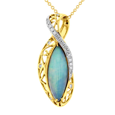 14K Yellow Gold Natural Ethiopian Opal 6.07ct and Diamond 0.50ct TDW (VS-SI1, G-H) Necklace