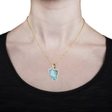 14K Yellow Gold 5.13cts Ethiopian Opal and 0.25cts TDW Diamond (SI1-VS, G-H) Pendant Necklace