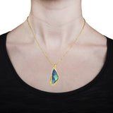 14K Yellow Gold Natural Australian Boulder Opal 34.16ct, Paraiba Tourmaline 0.04ct and Diamond 0.45ct TDW  (SI1-VS, G-H)Necklace