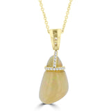 14k Yellow Gold Natural Ethiopian Opal 5.00ct & Diamond 1/4ct TDW an Necklace