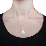 14K Yellow Gold 14.70ct Ethiopian Opal and 0.27ct Diamond (SI1-VS, G-H) Pendant Necklace