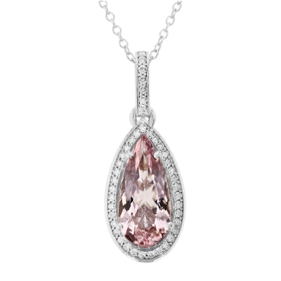 14K White Gold Morganite 4.30cts and Diamond 0.30cts (SI1-VS, G-H) Pendant Necklace