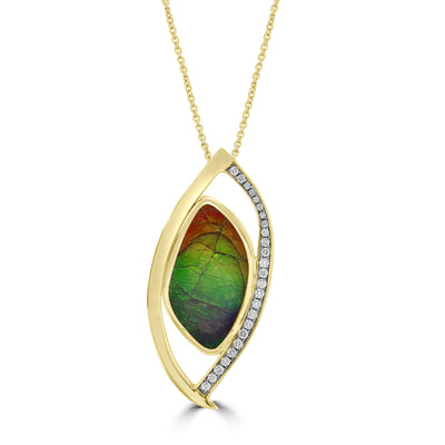 14K Yellow Gold 18.30cts Ammolite & 0.37cts Diamond Necklace