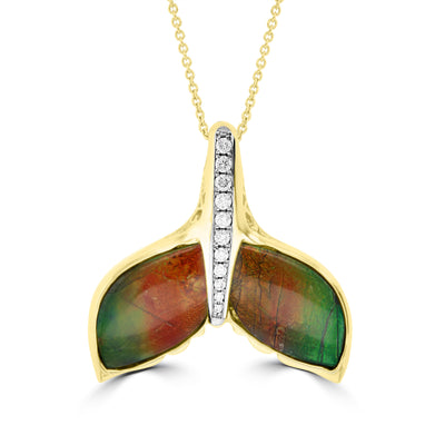 14K Yellow Gold 8.84ct Ammolite and Diamond 0.26ct (SI1-VS, G-H ) Whale Tail Necklace