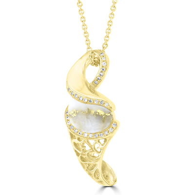 14K Yellow gold, Gold Quartz 2.08cts and Diamond 0.17cts (SI1-VS, G-H) Pendant Necklace